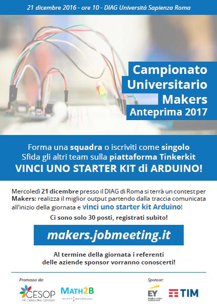 Campionato Universitario Maker Tappa Pilota a Roma