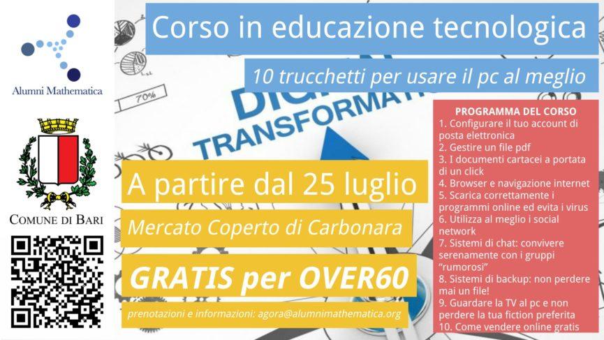 Locandina del corso in Educazione Tecnologia organizzato a Bari da Alumni Mathematica